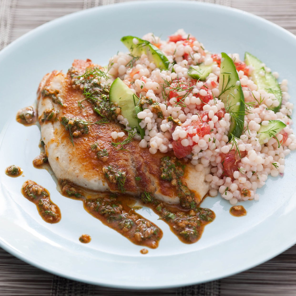 Pan-Seared Tilapia with Chermoula & Cucumber-Blood Orange Salad