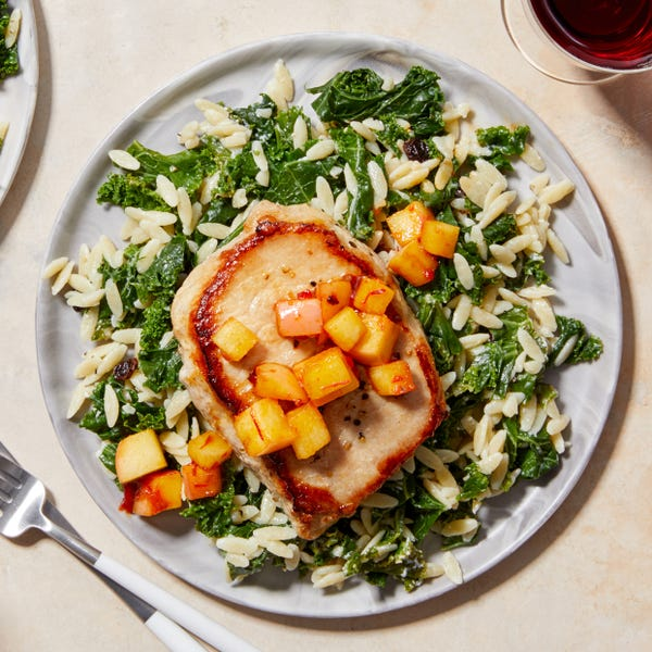 Pork Chops & Honey-Glazed Apples with Creamy Orzo