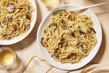 Pasta in Italian Salsa Verde with Mushrooms & Parmesan Cheese