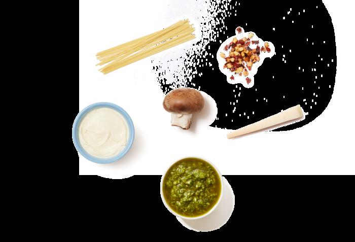 Pasta in Italian Salsa Verde with Mushrooms & Grana Padano Cheese