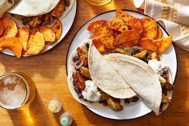 Smoky Brussels Sprout & Black Bean Tacos with Roasted Sweet Potatoes