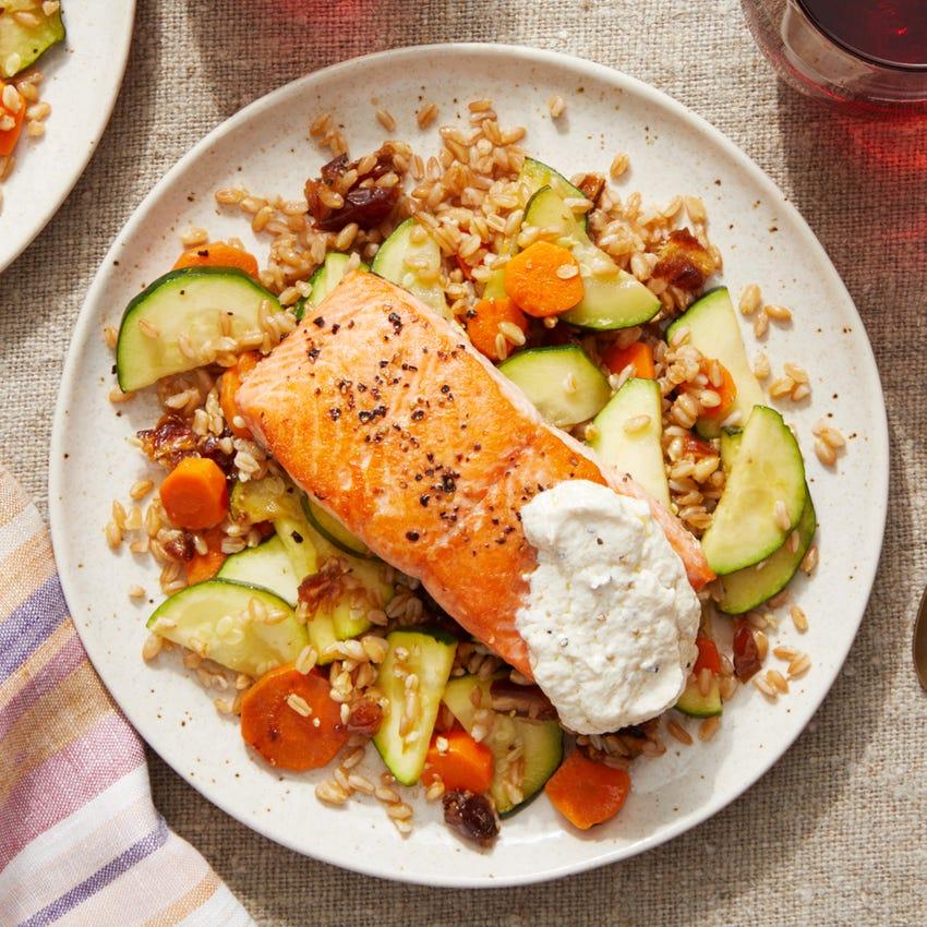 Seared Salmon over Farro with Dates, Zucchini,  & Garlic Labneh