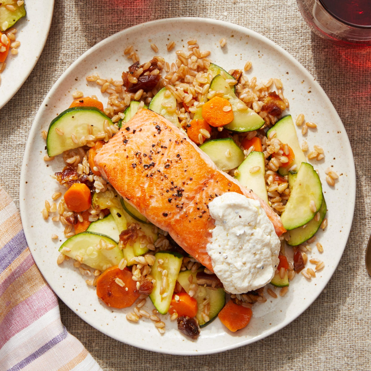 Seared Salmon over Farro with Dates, Zucchini,  & Garlic Labneh