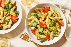 Creamy Pesto Cavatelli with Spinach, Zucchini, & Tomatoes
