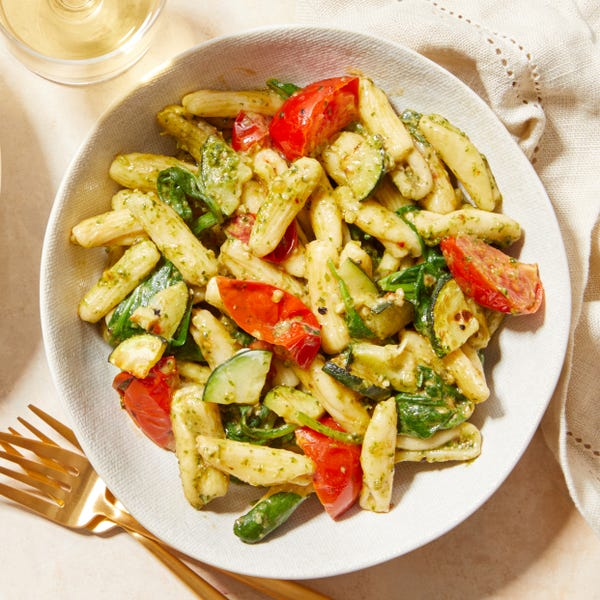 Creamy Pesto Cavatelli with Spinach, Zucchini, & Tomatoes