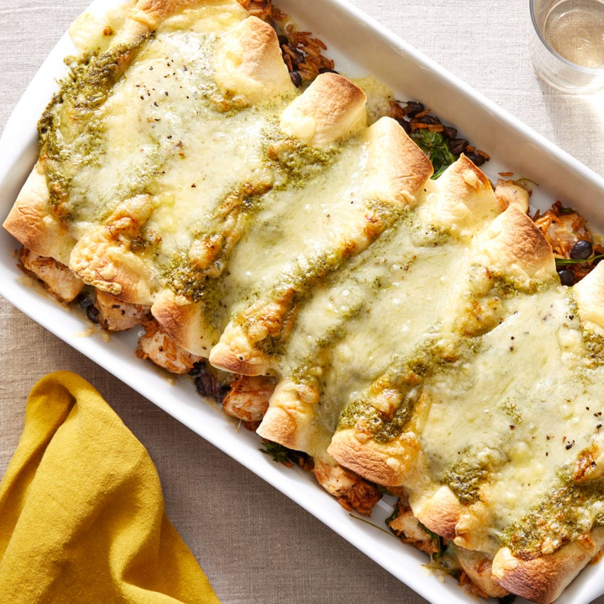 Chicken Enchiladas Verde with Spinach, Black Beans, & White Cheddar