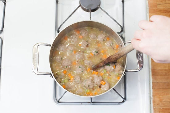 Make the broth & add the meatballs:
