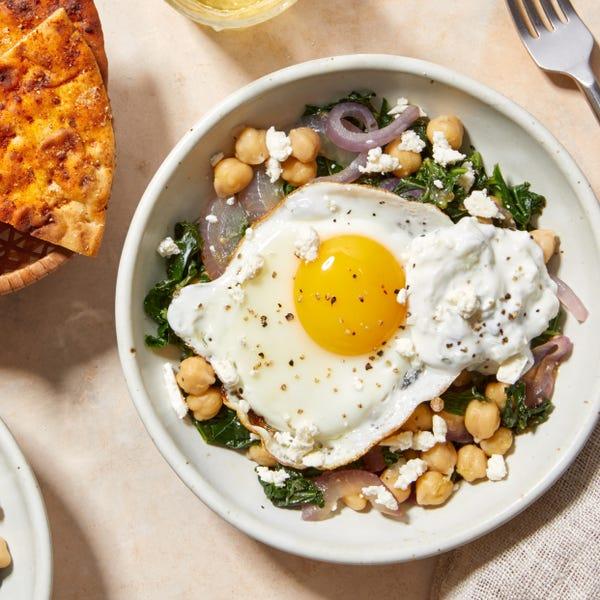 Zesty Chickpea & Kale Sauté with Tzatziki & A Sunny Side-Up Egg
