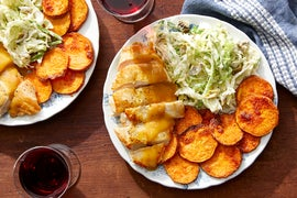 Seared Chicken & Honey Mustard Sauce with Roasted Sweet Potatoes