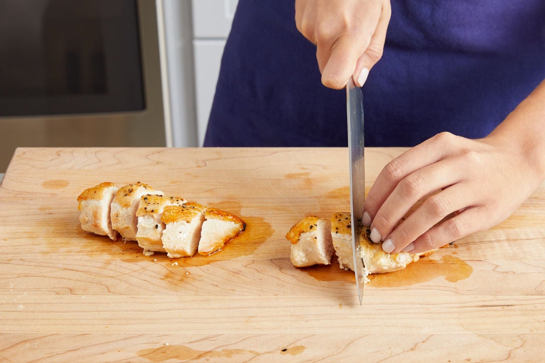 Slice the chicken & serve your your dish: