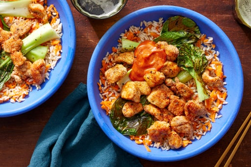 Japanese-Inspired Chicken Bowl with Rice, Bok Choy, & Spicy Gochujang Mayo