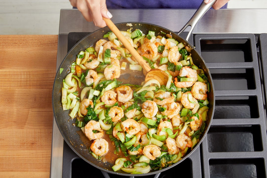 Cook the shrimp & bok choy: