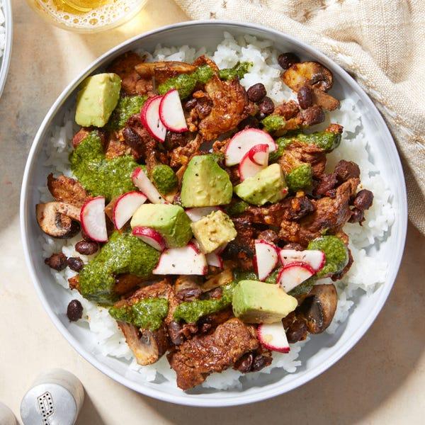 Garlicky Cilantro Beef & Beans with Avocado & Jasmine Rice