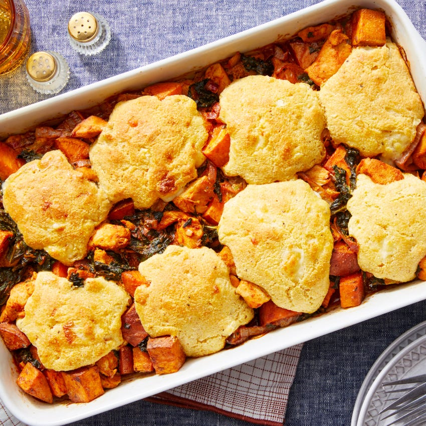 Smoky Chicken & Sweet Potato Bake with Cheesy Cornbread Biscuits
