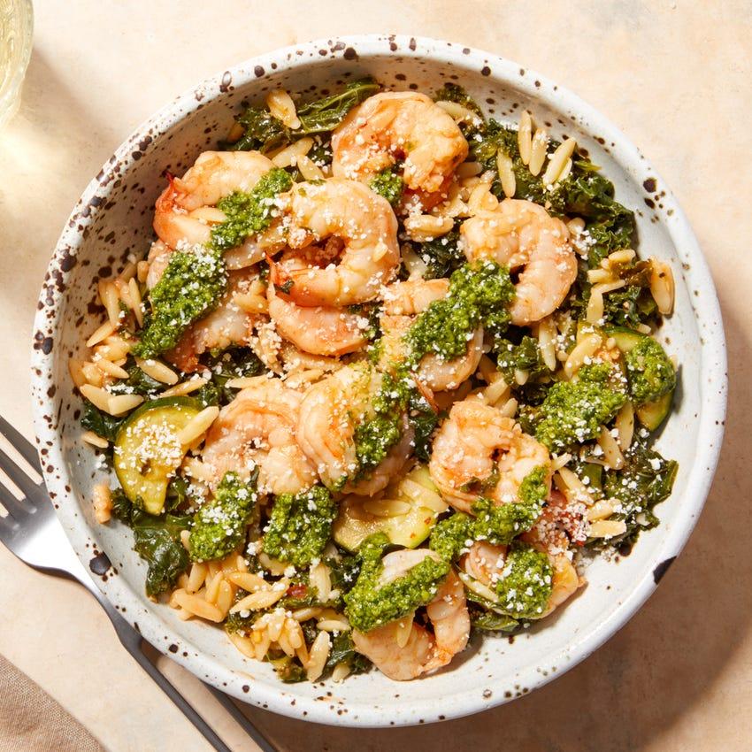 Creamy Tomato Shrimp & Orzo with Kale, Zucchini, & Basil Pesto