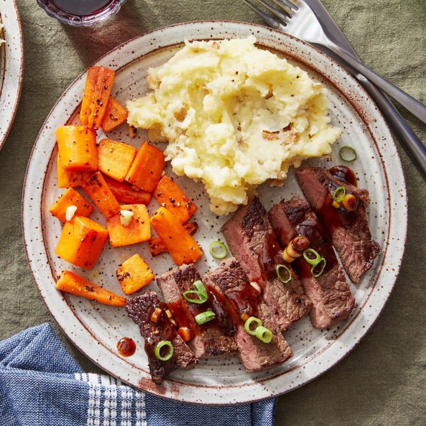 Seared Steaks & Homemade Steak Sauce with Mashed Potatoes & Sautéed Carrots