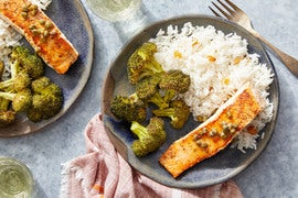 Seared Salmon & Lemon-Caper Sauce with Roasted Broccoli