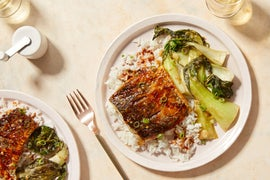 Sweet & Spicy Barramundi with Miso-Glazed Bok Choy & Jasmine Rice