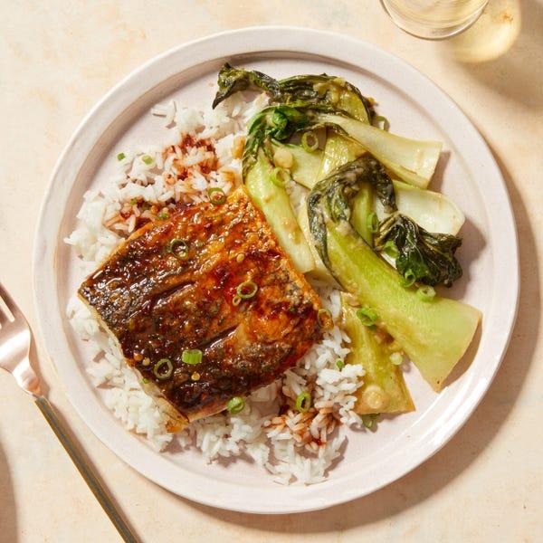 Sweet & Spicy Barramundi with Miso-Glazed Bok Choy & Jasmine Rice
