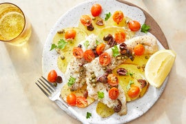Provençal-Style Baked Fish with Saffron Potatoes  & Tomato-Olive Topping