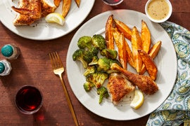 Maple-Mustard Roasted Chicken with Roasted Sweet Potatoes & Lemony Broccoli