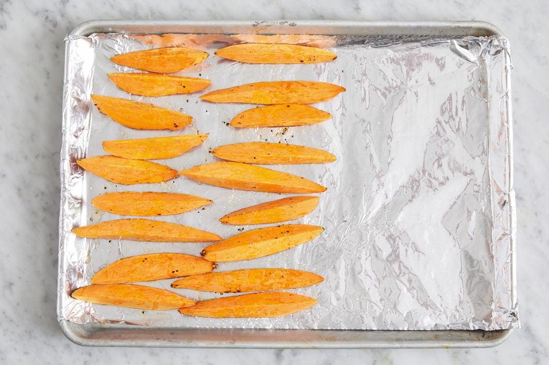 Prepare the sweet potatoes:
