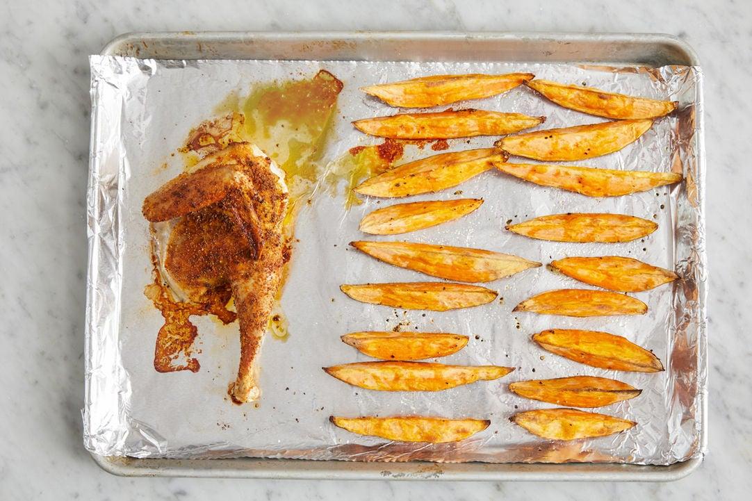 Roast the chicken & sweet potatoes: