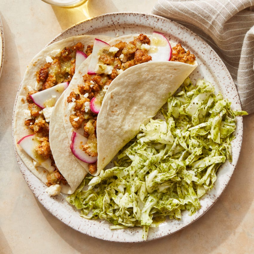 Zesty Pork Tacos with Cilantro Cabbage Slaw