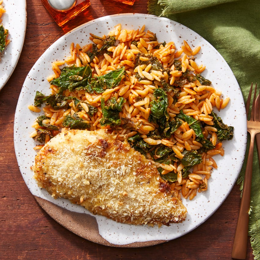 Creamy Mustard Baked Chicken with Kale & Tomato Orzo Pasta