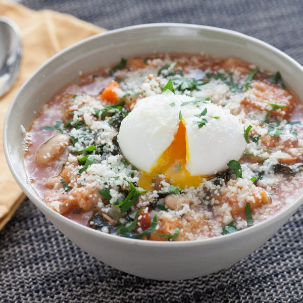 Tuscan Ribollita Soup with Soft-Boiled Eggs & Lacinato Kale