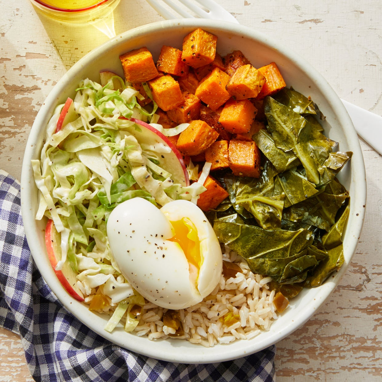 Southern-Style Rice Bowl with Sweet Potatoes, Collard Greens, & a Soft-Boiled Egg