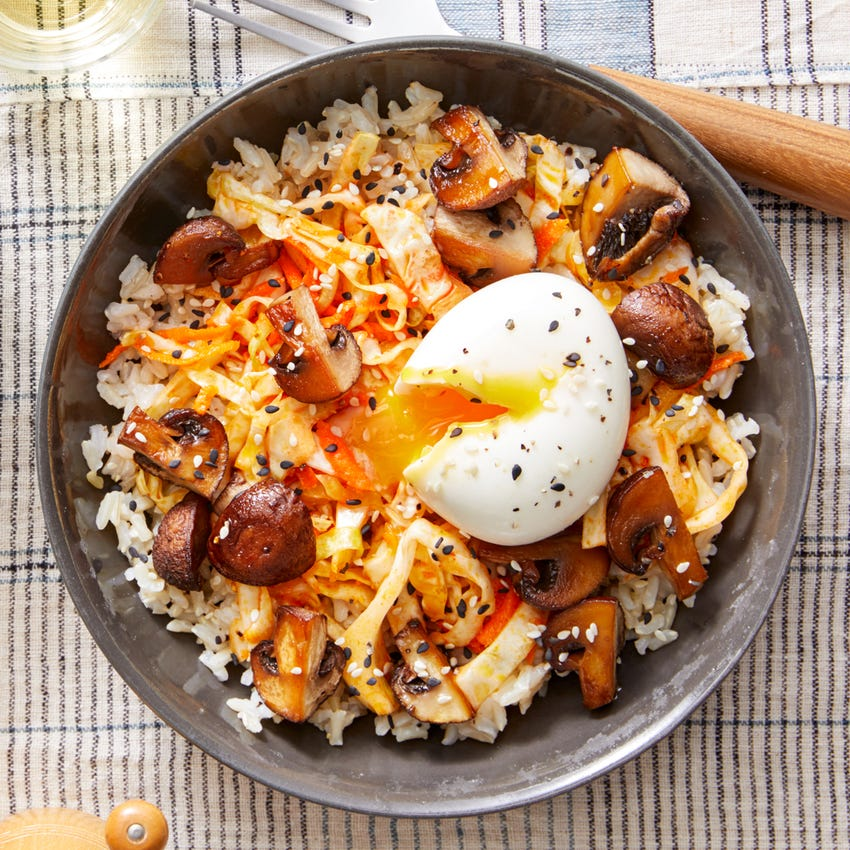 Asian-Inspired Brown Rice Bowl with Roasted Mushrooms, Spicy Slaw, & Soft-Boiled Eggs