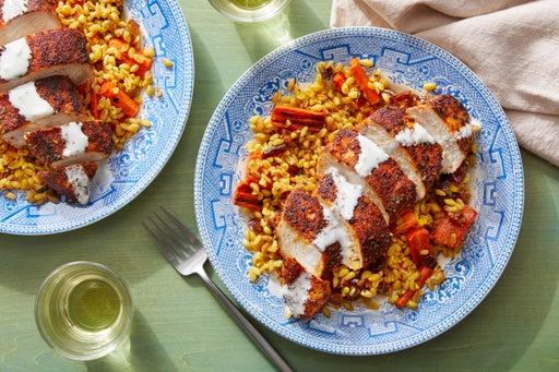 Chicken over Farro Salad with Carrots, Dates, & Lemon Mayo