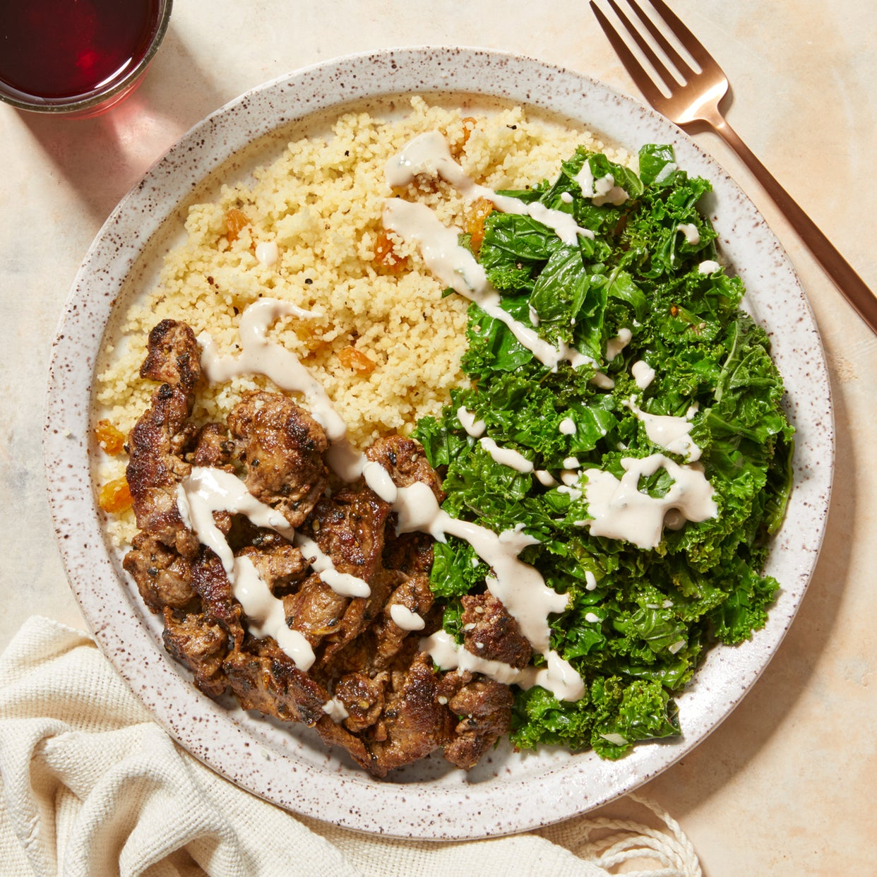 Dukkah-Spiced Beef & Couscous with Kale & Tahini Dressing