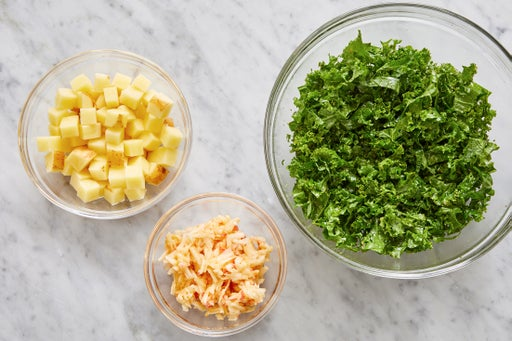 Prepare the ingredients & dress the kale: