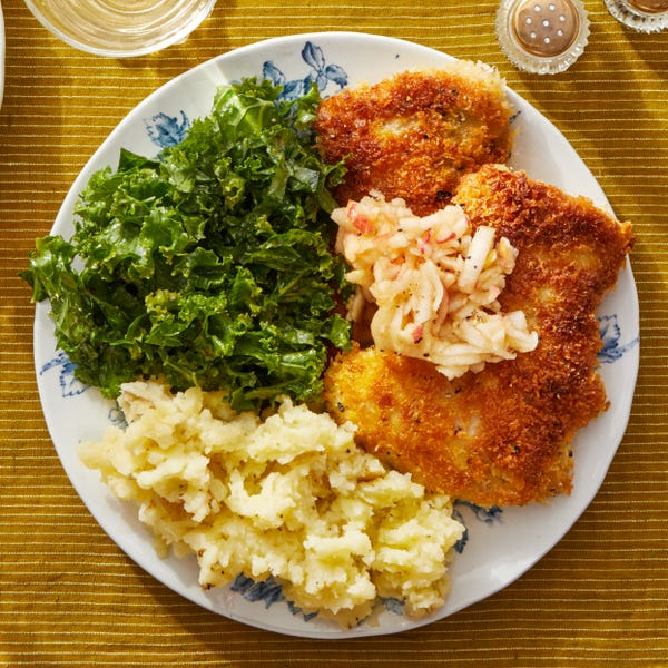 Crispy Chicken Schnitzel with Mashed Potatoes & Creamy Mustard-Dressed Kale