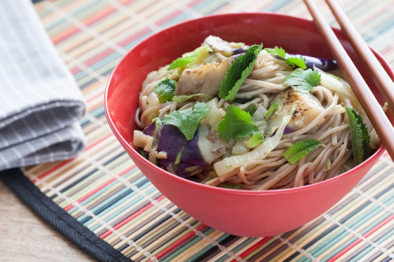 Japanese Eggplant & Soba Noodles with Taiwanese Bok Choy
