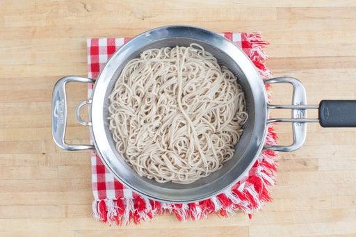 Cook the soba noodles: