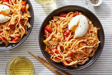 Lo Mein Noodle Stir-Fry with Miso-Roasted Tomatoes & Soft-Boiled Eggs