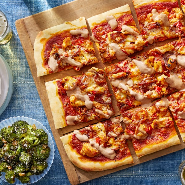 BBQ Chicken Pizza with Tangy Dressed Broccoli