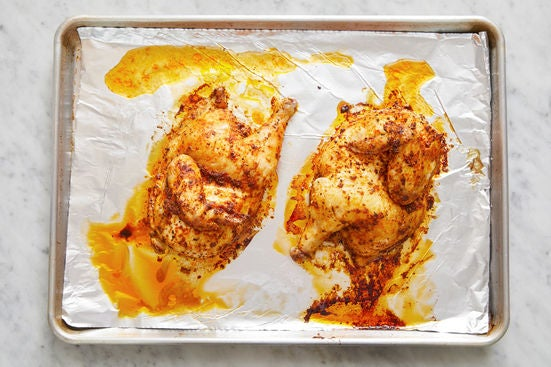 Prepare & roast the chicken: