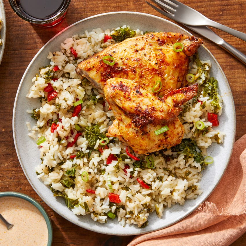 Cajun-Spiced Half Chickens with Kale & Pepper Rice