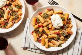 Pasta & Roasted Red Pepper-Tomato Sauce with Creamy Ricotta