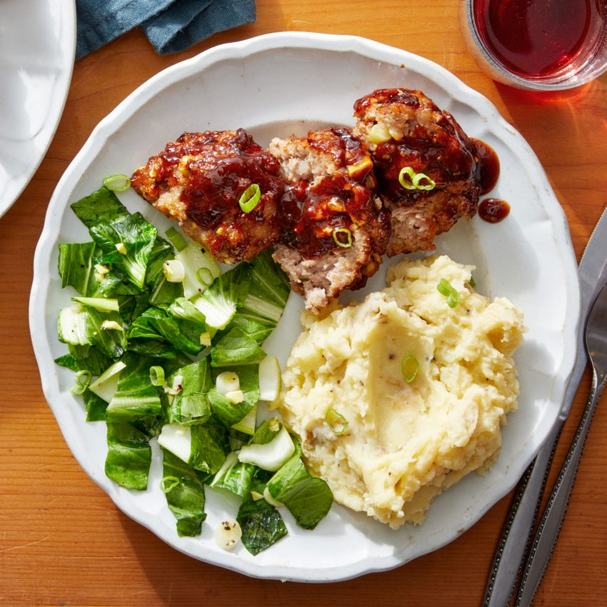 Asian-Style Pork Meatloaf with Miso Mashed Potatoes & Bok Choy
