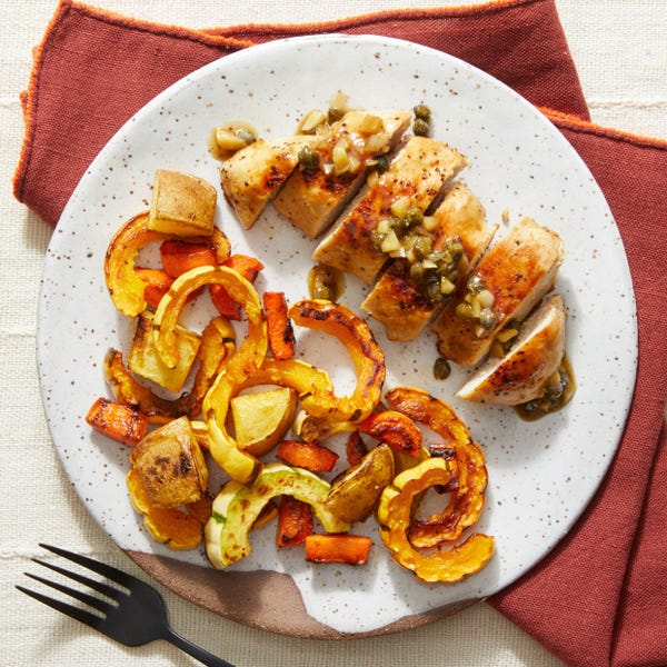 Chicken & Fall Vegetables with Garlic Pan Sauce
