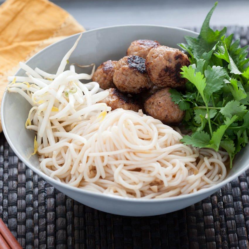 Vietnamese Bun Cha with Rice Noodles & Asian Herb Salad
