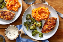Seared Chicken with Mashed Sweet Potatoes & Roasted Broccoli