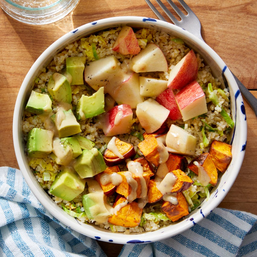 Hearty Vegetable Grain Bowl with Avocado & Creamy Fig Dressing