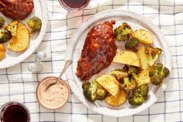 Sheet Pan Spicy BBQ Chicken with Roasted Vegetables & Creamy Dipping Sauce