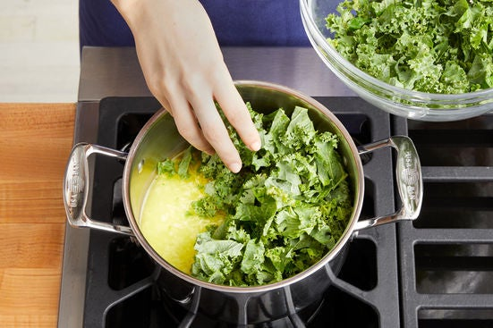 Cook the rice & kale: